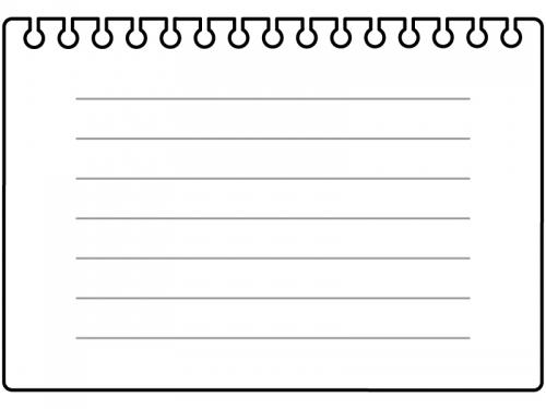 罫線付き破ったリングノートの黒フレーム飾り枠イラスト