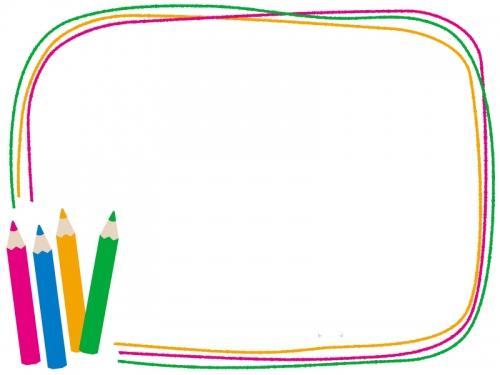 色鉛筆のカラフルなフレーム飾り枠イラスト