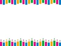 色鉛筆のカラフルな上下フレーム飾り枠イラスト