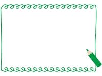 緑の色鉛筆の手書き風フレーム飾り枠イラスト