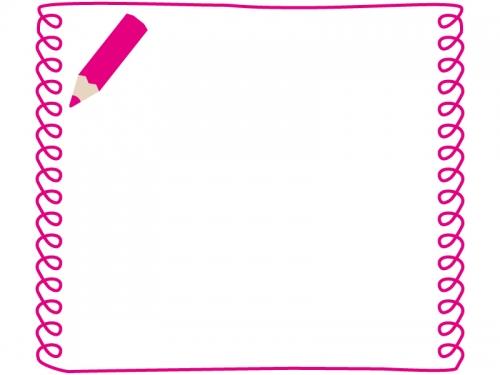 ピンクの色鉛筆の手書き風フレーム飾り枠イラスト