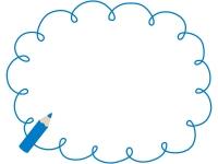 青色鉛筆の手書き風もこもこフレーム飾り枠イラスト