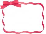 赤いリボンのフレーム飾り枠イラスト