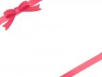 赤いリボンをかけたシンプルなフレーム飾り枠イラスト