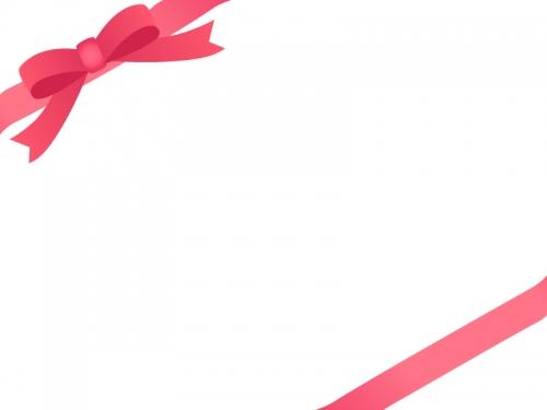赤いリボンをかけたシンプルなフレーム飾り枠イラスト 無料イラスト