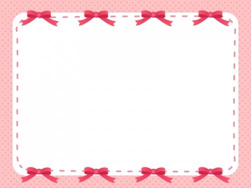 上下に並んだ赤いリボンのフレーム飾り枠イラスト