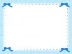 四隅の青リボンのフレーム飾り枠イラスト