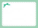 ワンポイント緑リボンのフレーム飾り枠イラスト