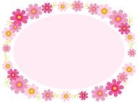 色とりどりのコスモスの楕円フレーム飾り枠イラスト