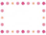 並んだコスモスのフレーム飾り枠イラスト