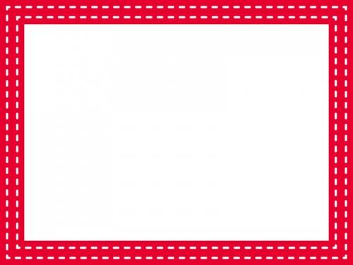 二重ステッチの赤いフレーム飾り枠イラスト