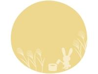 十五夜・うさぎとすすきのお月見フレーム飾り枠イラスト