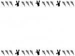 十五夜・白黒のうさぎとすすきのお月見フレーム飾り枠イラスト