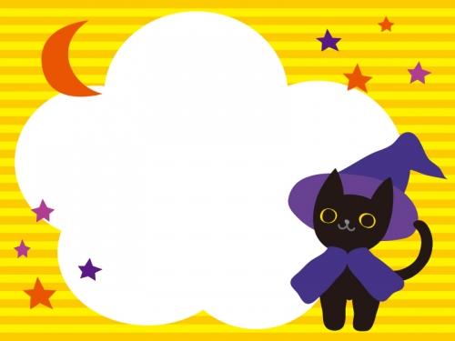 ハロウィン・黒猫と月と星のフレーム飾り枠イラスト
