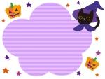 ハロウィン・黒猫とかぼちゃと星のフレーム飾り枠イラスト