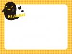 ハロウィン・黒いおばけの黄色チェックフレーム飾り枠イラスト
