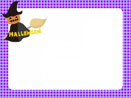 ハロウィン・魔女かぼちゃの青チェックフレーム飾り枠イラスト