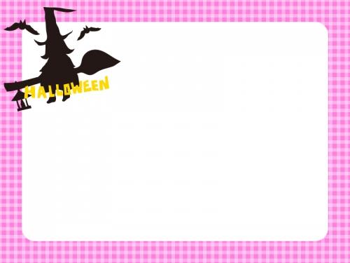 ハロウィン・魔女とコウモリの桃チェックフレーム飾り枠イラスト