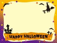 魔女飛ぶ夜のハロウィン文字入りフレーム飾り枠イラスト