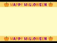 ハロウィン文字入り上下チェックのフレーム飾り枠イラスト