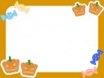 かぼちゃ×キャンディのハロウィンフレーム飾り枠イラスト