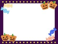 ハロウィン・かぼちゃお化けとキャンディのフレーム飾り枠イラスト