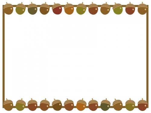 秋・ドングリの上下フレーム飾り枠イラスト