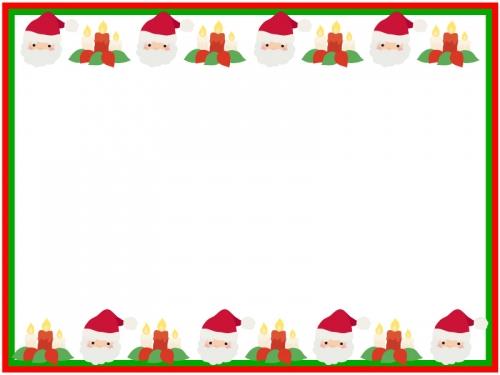 クリスマス・サンタとキャンドルの上下フレーム飾り枠イラスト