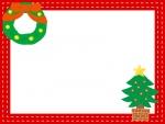 リースとツリーのクリスマスフレーム飾り枠イラスト