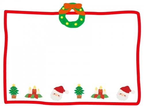 クリスマスの手書き風枠のフレームイラスト 無料イラスト かわいい