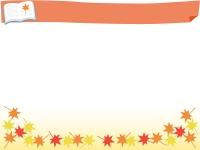 見出し付き読書の秋と紅葉のフレーム飾り枠イラスト
