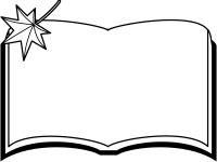 読書の秋・もみじと本の白黒フレーム飾り枠イラスト