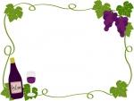 ぶどうとワインのフレーム飾り枠イラスト