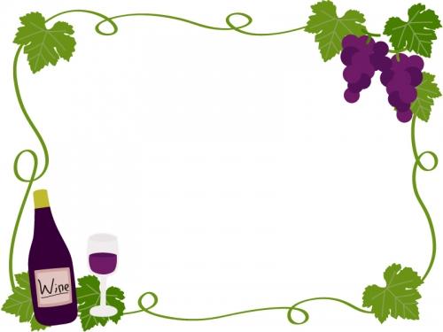 ぶどうとワインのフレーム飾り枠イラスト 無料イラスト かわいいフリー