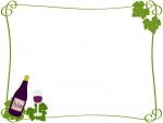 ワインとぶどうの葉のフレーム飾り枠イラスト