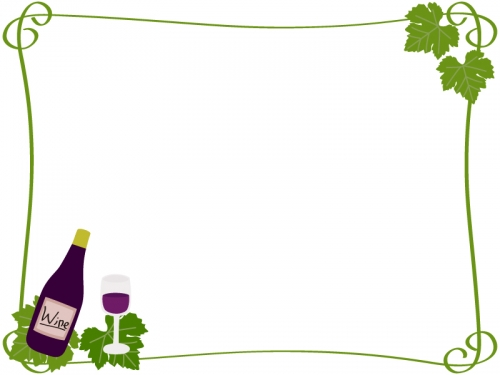 ワインとぶどうの葉のフレーム飾り枠イラスト 無料イラスト かわいい