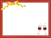 ゴールドのリボンとワインのフレーム飾り枠イラスト