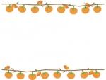 枝付きの柿のフレーム飾り枠イラスト
