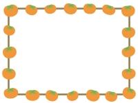 柿の囲みフレーム飾り枠イラスト