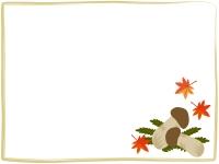 松茸とモミジのフレーム飾り枠イラスト