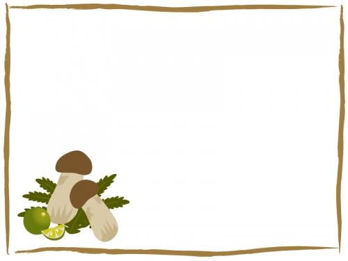 松茸とすだちのフレーム飾り枠イラスト