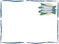 カゴに盛ったサンマのフレーム飾り枠イラスト