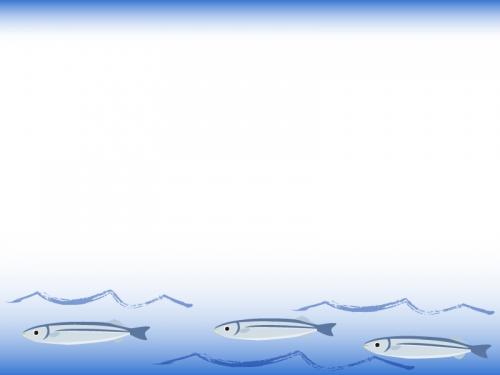 海の波間を泳ぐサンマのフレーム飾り枠イラスト