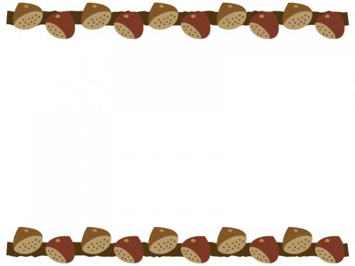 栗の上下フレーム飾り枠イラスト