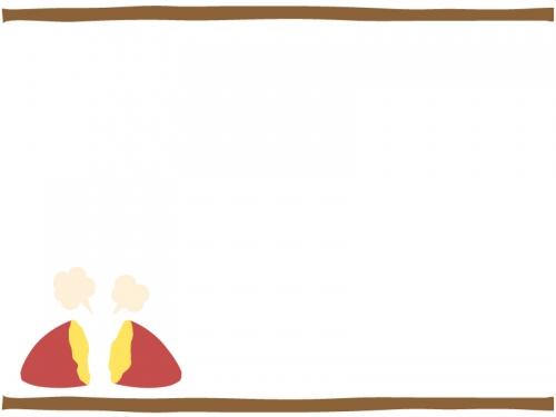 焼き芋の上下フレーム飾り枠イラスト
