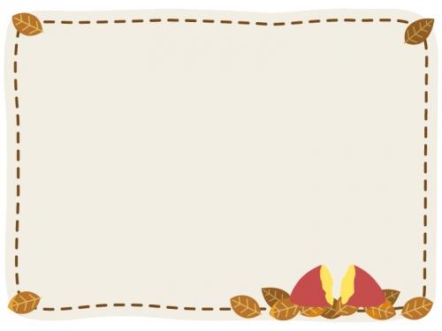 焼き芋と枯れ葉のフレーム飾り枠イラスト 無料イラスト