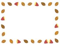 焼き芋と枯れ葉の囲みフレーム飾り枠イラスト