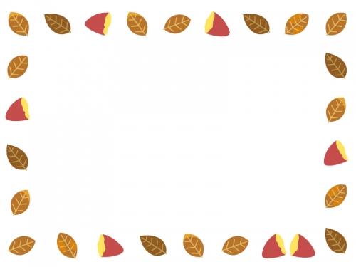 焼き芋と枯れ葉の囲みフレーム飾り枠イラスト 無料イラスト かわいい