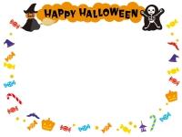 ハロウィン・かぼちゃとガイコツの文字入りフレーム飾り枠イラスト