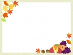 秋の味覚と紅葉のフレーム飾り枠イラスト